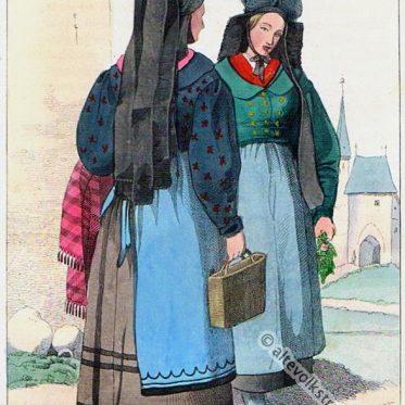 Thüringen. Erfurter Bäuerinnen in Sonntagstracht um 1840