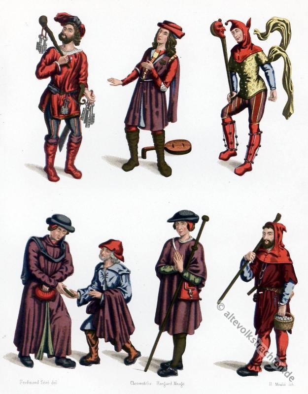 Kostüme, Mittlealter, Narren, Spielleute, Bettler, Kerkermeister, Pilger, Schäfer