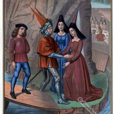 Der Ritter und die Dame. Frankreich 15. Jahrhundert.