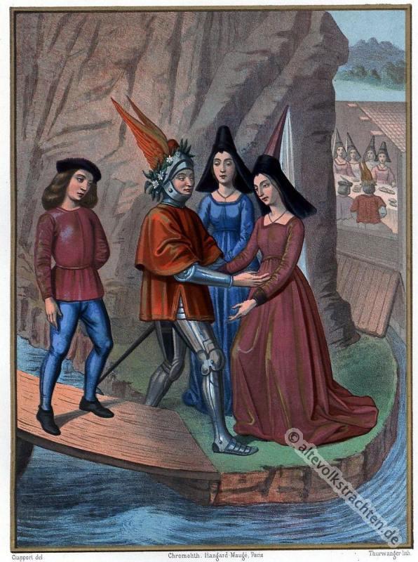 Kostümgeschichte, Mittelalter, Kostüme, Ritter, Modegeschichte, Hennin