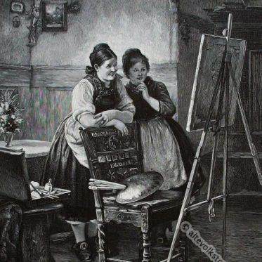 Hessische Bauernmädchen von der Schwalm