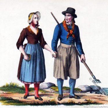 Bauer und Bäuerin in der Tracht der Insel Poel um 1820.