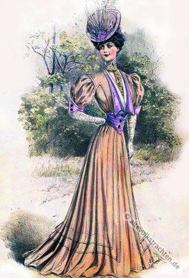 Pastelltuch. Gründerzeit.Belle Époque.  Jugendstil. Mode.  Kleidung. Wilhelminismus