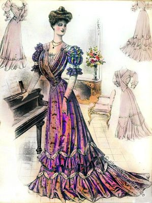 Gesellschaftstoilette, Taffeta, Belle Époque, Kleid, Jugendstil, Kostüm, Mode, Gründerzeit