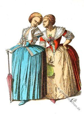 Rokoko Kleidung. Mode des 18. Jahrhunderts. Kostümgeschichte des 18. Jahrhunderts.