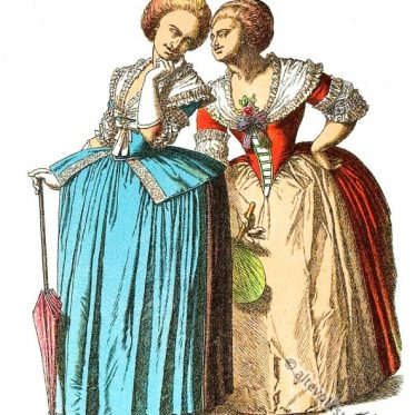 Rokoko Kleidung. Deutsches und französisches Kostüm.