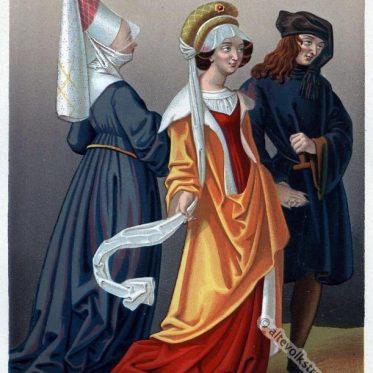 Flandern Mittelalter Kleidung. 15. Jahrhundert.
