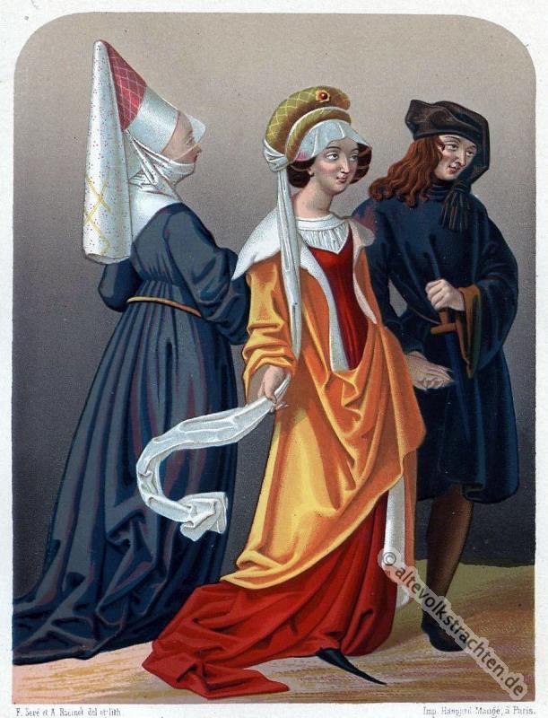 Mittelalter, 15. Jahrhundert, Gewandung, historische Kleidung, Modegeschichte, Kostümgeschichte,