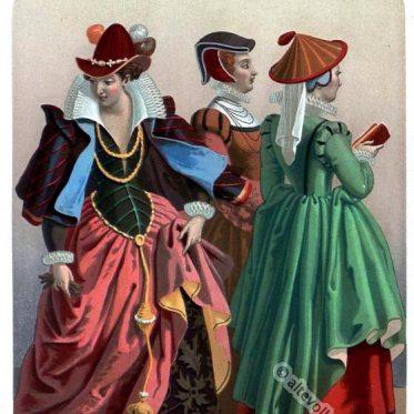 Deutsche Renaissance Kleider und Hüte des 16. Jahrhunderts.