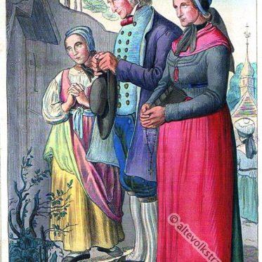 Bauern aus dem Hunsrück, Bezirk Koblenz um 1840.