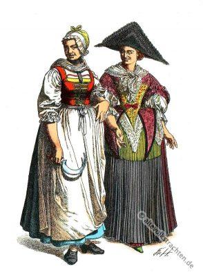 Bäuerinnentracht. Kostümgeschichte. Deutschen Volkstrachten im 18. Jahrhundert.