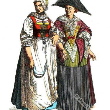Oberelsass. Bäuerin und Jungfrau um 1750.