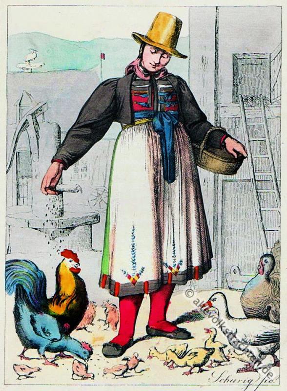 Bauerntrachten,  Furtwangen, Baden, Trachten, Schwarzwald, Volkstrachten, historische Kleidung,