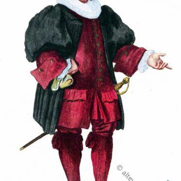 Arzt in der Kleidung des Barock aus Basel, 1600.