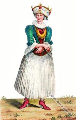 Schweizer Trachten, Basel, Brautkleid, Brautkostüm