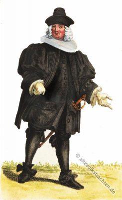 Ratsherr, Basel, Schweiz, Modegeschichte, Ratsherren Kostüm, Barock Kleidung, Schweizer Tracht, 17. Jahrhundert, Mode, historische Bekleidung,