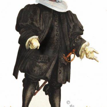 Basler Ratsherr in der Mode des Barock um 1600.