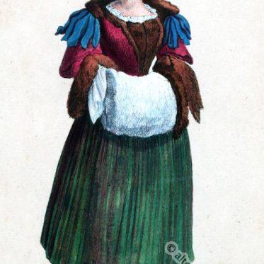 Basler Bürgerin in historischer Wintertracht um 1600.
