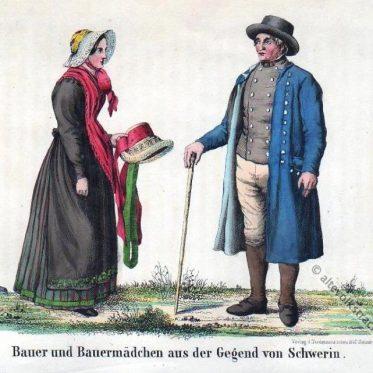 Bauer und Bauernmädchen aus der Umgebung von Schwerin.