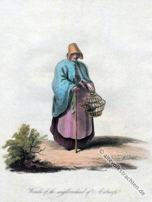 Belgische National Trachten. Bäuerinnen Tracht aus Belgien.