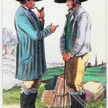 Männertrachten aus Kahla in Thüringen um 1840.