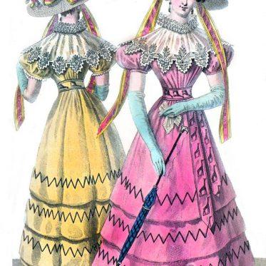 Biedermeier Kostüme. Französische Restauration 1827.