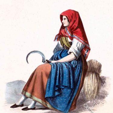 Historische Tracht aus Riedenheim, Unterfranken um 1850.