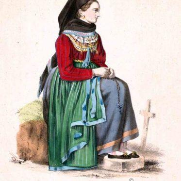 Frauentracht aus Röttingen. Unterfranken um 1850.