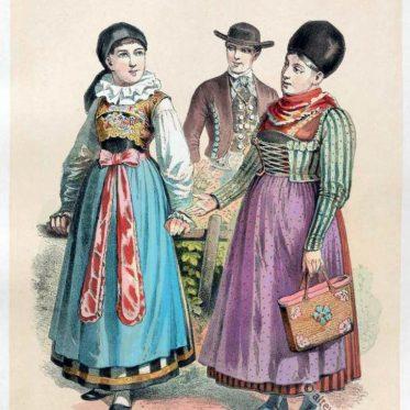 Alte Volkstrachten aus Niederbayern um 1850.