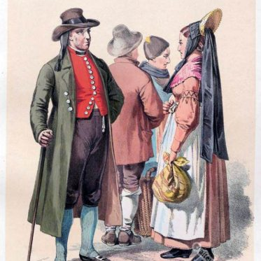 Schwäbischer Bauer und Bäuerin um 1850