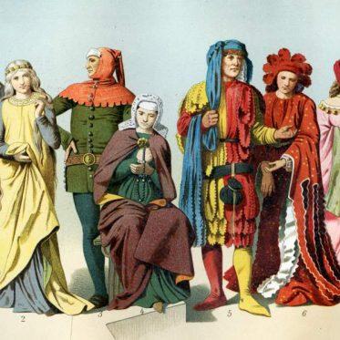 Deutsche Mittelalter Kostüme des 11. - 15. Jahrhunderts.