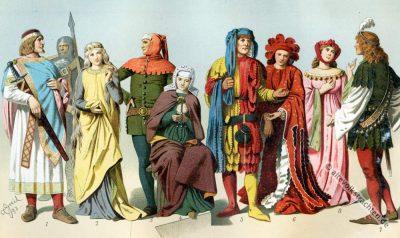 Mittelalter,Kostümgeschichte, Zaddeltracht, Schellentracht, Gugel, Gewandung,