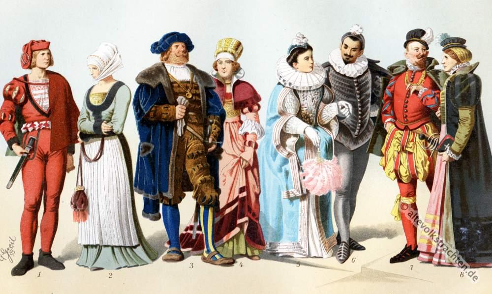 Deutsche Renaissance, Mode, Goller, Deutschland, Kostüme, Kuhmaulschuhe, Vertugado, Mühlsteinkragen, Gansbauch, Puffhose