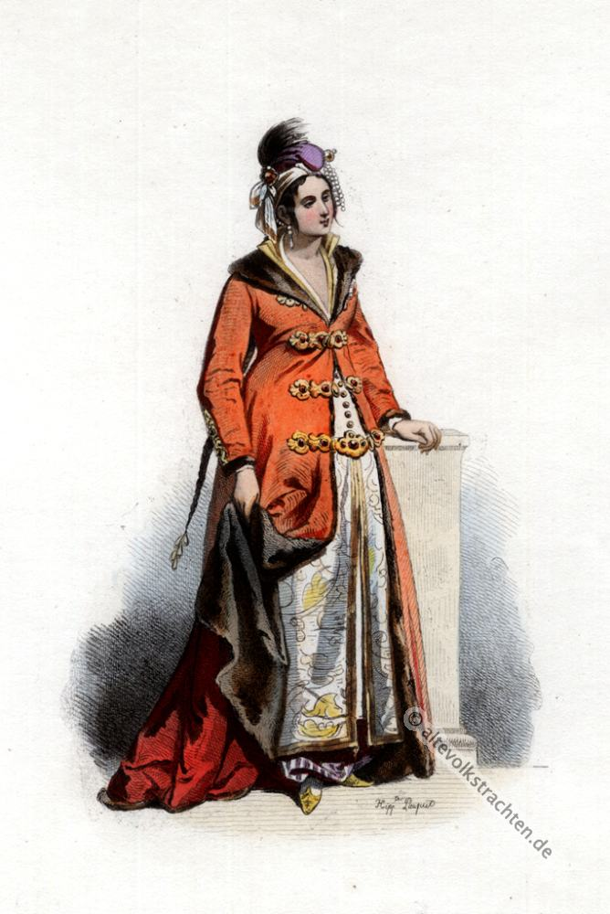 Griechische Frauen Tracht, 17. Jahrhundert Kostüm, Osmanische Trachten, Kostümgeschichte, Modegeschichte, Griechenland Kleidung
