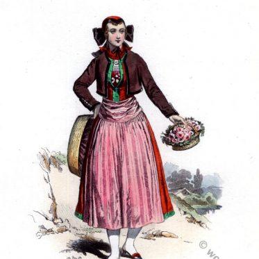 Hamburger Tracht. Blumenmädchen um 1809.