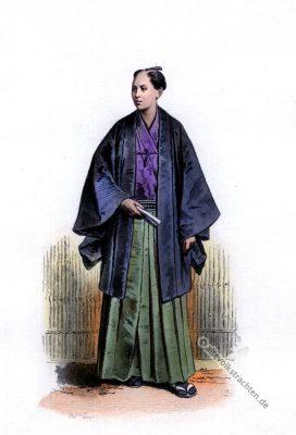 Japanischer Offizier. 19. Jahrhundert Mode. Militär. Samurai Kostüm.