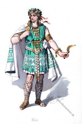 Kostüm design. Das Froh. Germanischer Krieger. Rheingold. Der Ring des Nibelungen. Komponist Richard Wagner. Germanischer Gott. Germanische Heldensage.