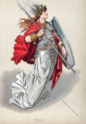 Walküre Brünnhilde. Kostüm design. Das Rheingold. Der Ring des Nibelungen. Komponist Richard Wagner. Deutsche Oper. Ring-Zyklus. Carl Emil Doepler.