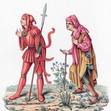 Kleidung im Mittelalter. Gerichtsbote und Bauer des 15. Jh.
