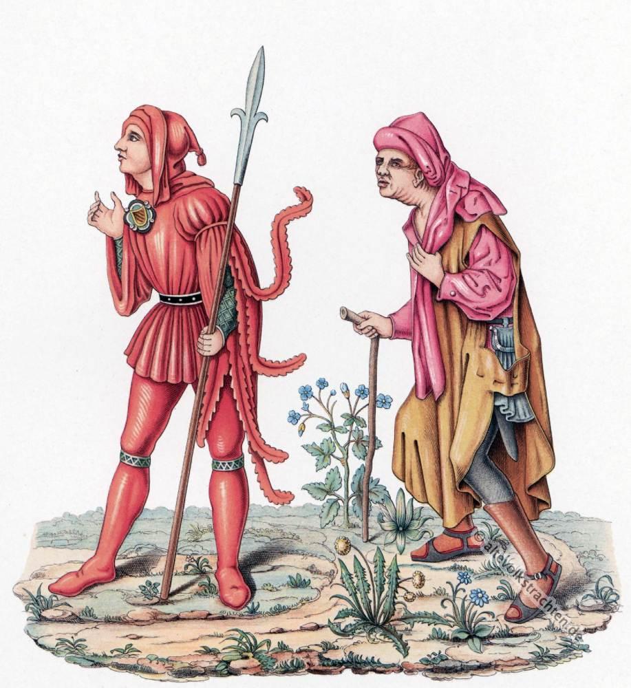 Gerichtsdiener, Bauern Gewandung. Mittelalter Modegeschichte. Burgundische Mode. Gotik Kostüme