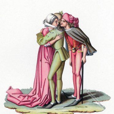 Burgunder Mode im Europa des 15. Jahrhunderts.