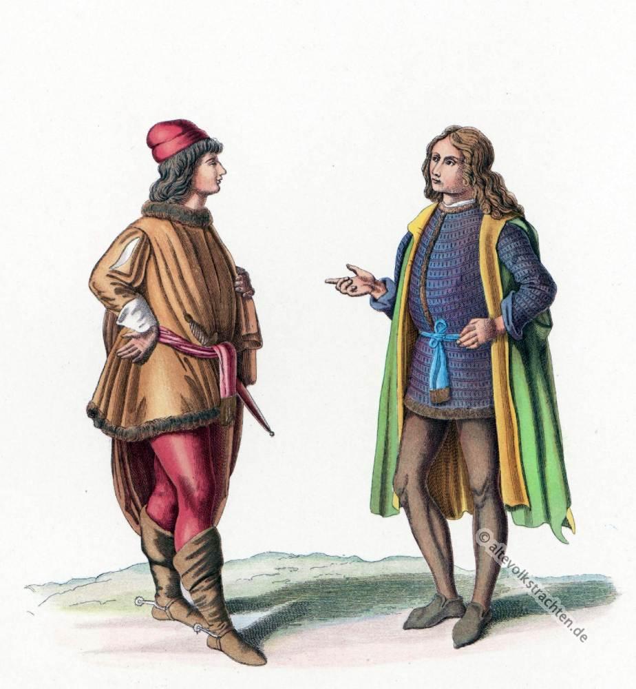 Italienische Trachten Mittelalter. 15. Jahrhundert Mode. Gotische Gewandung.