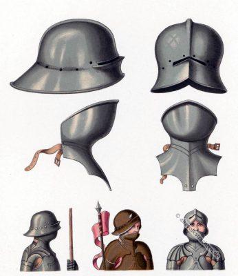 Mittelalter Helm. Schaller, Barthaube. Militär der Gotik. 15. Jahrhundert.