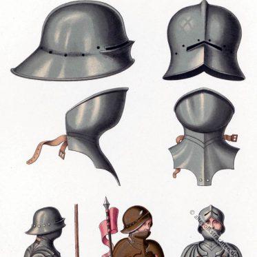 Helm und Barthaube. Schaller des 15. Jahrhundert.