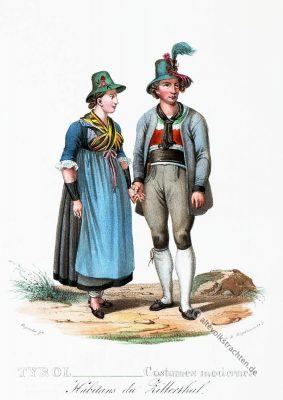 Zillertal, Trachten, historische Kostüme, Modegeschichte, Kostümgeschichte, Österreich, Historische Kleidung, Dirndl