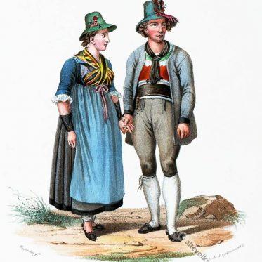 Bauerntrachten aus dem Zillertal. Tirol um 1830.