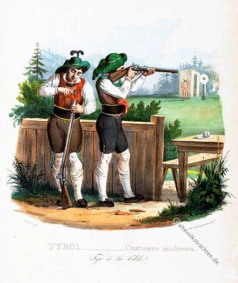 Zillertal, Trachten, historische Kostüme, Modegeschichte, Kostümgeschichte, Österreich, Historische Kleidung, Scheibenschiessen
