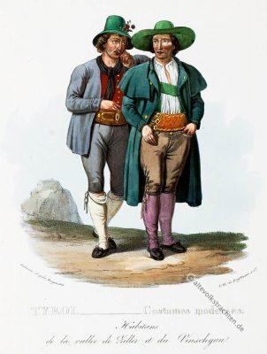Tipi costumi Pusteria Tirolo, Trachten, Vinschgau, Tirol, Zillertal, historische Kostüme, Modegeschichte, Kostümgeschichte, Österreich, Historische Kleidung,