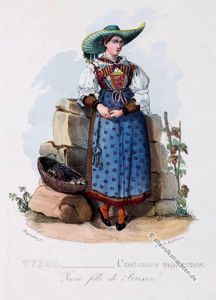 Traditionelle Brixen Tracht, Tirol, Tiroler Trachten, Bauerntrachten, Modegeschichte, Kostümgeschichte, historische Kostüme, Dirndl,