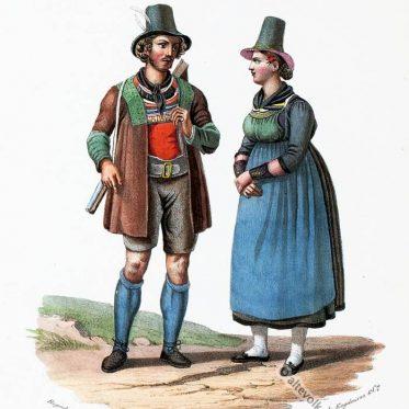Pinzgau Bewohner. Tiroler Trachten um 1830.